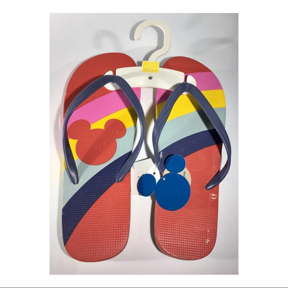f0dd5e215c8 Disney Mickey Mouse Rainbow Flip Flops Size 6
